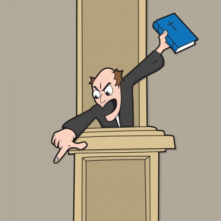 Helllfire and brimstone type preacher, shouting at his congregation whilst holding Bible. Illustration