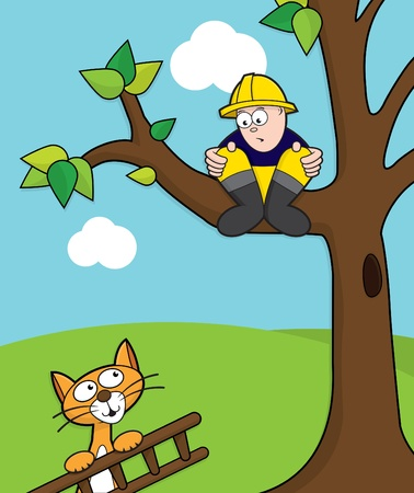 Cat coming to rescue a fireman stuck up a tree with ladder. Stock Vector - 10261166