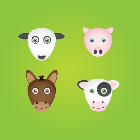 oink: 4 farmyard animal heads - Sheep, Pig, Horse, Cow. Illustration