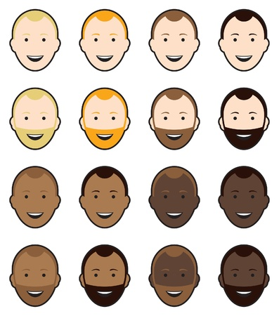 light brown hair: Different cultural faces, with and without beards. All smiling.