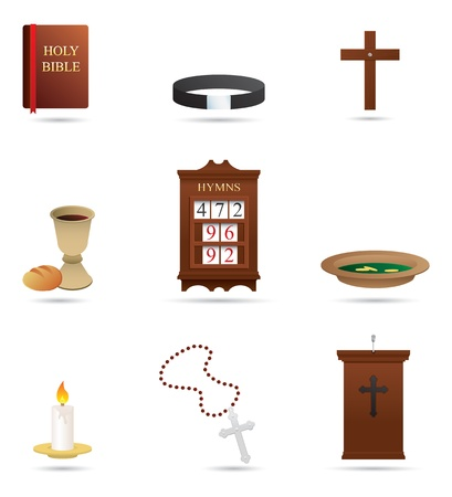 Selection of 9 Christian Religious icons and symbols photo