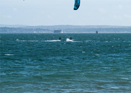 Ups near miss whilst windsurfing Stock Photo