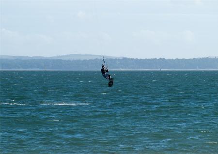 Yes Im on strings, windsurfing Stock Photo
