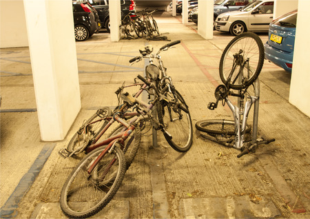 cycles: Cycles left safe and secure in car park.