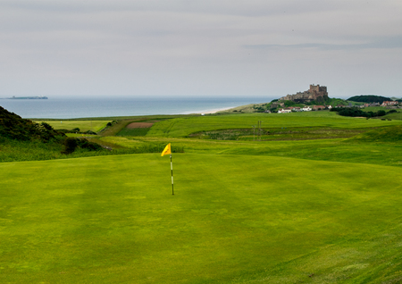 Bamburgh Castle from the 16th Green of Bamburgh Castle golf club.