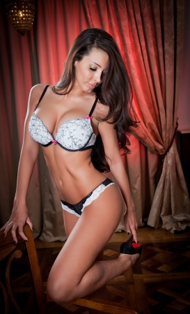 attractive and sexy brunette with white bra  Portrait of young sensual woman wearing white bra in classic boudoir scene Beautiful and sexy girl with long hair wearing white lingerie in vintage room photo