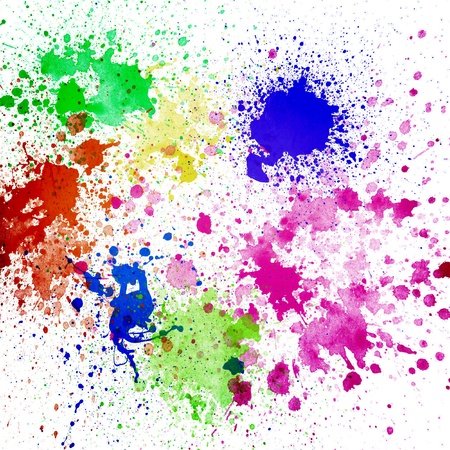 'paint splatter': Splashes of colorful ink on white background Abstract colorful splash watercolor art hand paint on white background
