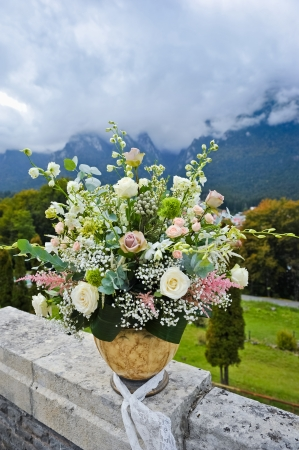large pot with flowers and landscape with mountains behind photo