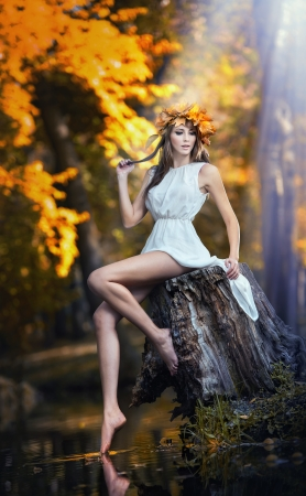 portrait of beautiful girl in the forest  girl with fairy look photo
