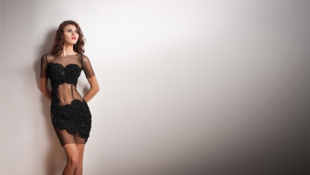 Charming young brunette woman in transparent lace black dress leaning against white wall  Sexy gorgeous young woman on white background  Full length portrait of a sensual woman with long hair posing Standard-Bild