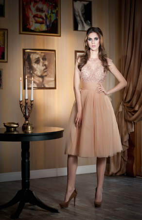 Beautiful brunette lady in elegant nude colored dress posing in a vintage scene  Young sensual fashionable woman on high heels with pictures decorated wall as background  Attractive long hair girl photo