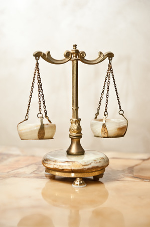 Old golden scale. Vintage balance scales. Scales balance. Antique scales, law and justice symbol isolated