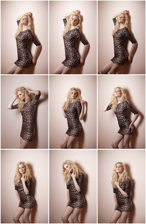 Attractive sexy blonde in animal print tight fit short dress posing provocatively indoor. Portrait of sensual woman in classic boudoir scene against a wall. Beautiful fair hair female, indoor shot. photo