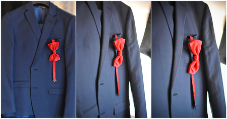 ultramarine blue: Wedding ultramarine suit and red bow. Formal groom suit with red bow-tie. Elegant blue grooms suit close up with bow tie.