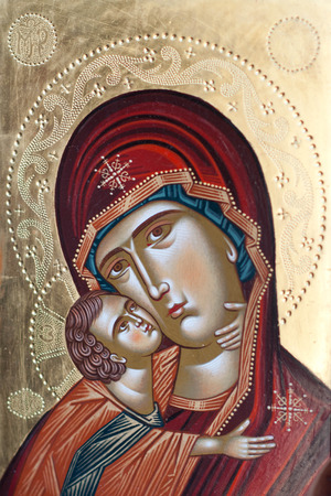 Painted icon of Mary and Jesus Christ. Painted Mary and Jesus Christ by unknown painter Stock Photo