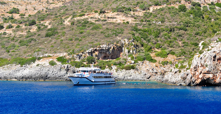 azure coast: Island in the Ionian Sea, Zakynthos. Azure coast of Greece. View of coast from the sea. Stock Photo