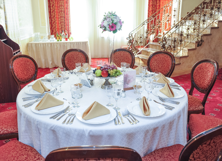 #46733723 - Wedding table setting. Table set for an event party or wedding reception. Elegant table setting in restaurant or house with a fruits arrangement ... & Wedding Tables Setting In White Color Tables Set For An Event ...