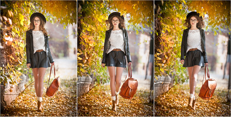 fade away: Attractive young woman in an autumnal shot outdoors. Beautiful fashionable school girl with leather backpack posing in park. Elegant college student with glasses, hat and short skirt in fall scenery