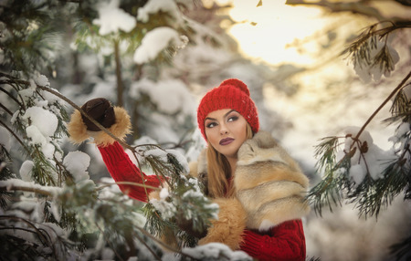 fur trees: Beautiful woman in red with brown fur cape enjoying the winter scenery in forest. Blonde girl posing under snow-covered trees branches. Young female with snowflakes around in bright cold day, makeup