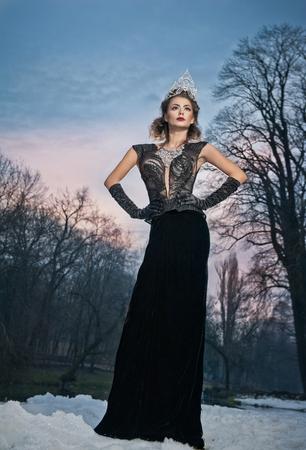 modelos posando: señorita encantadora que presenta de manera espectacular con el vestido negro largo y diadema de plata en un paisaje de invierno. mujer morena con el cielo nublado en el fondo - tiro al aire libre. Hembra atractiva en la naturaleza - estilo gótico