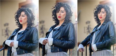 voluptuosa: mujer morena encantadora joven rizada con chaqueta de cuero negro. mujer joven magn�fica atractiva con aspecto moderno. Retrato de la muchacha sensual con la boca voluptuosa usando una falda tut� gris, dispararon al aire libre