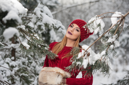 Beautiful woman in red with brown fur cape enjoying the winter scenery in forest. Blonde girl posing under snow-covered trees branches. Young female with snowflakes around in bright cold day, makeup Фото со стока - 114890006