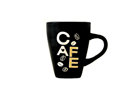 large bean: Large black coffee mug with Cafe sign