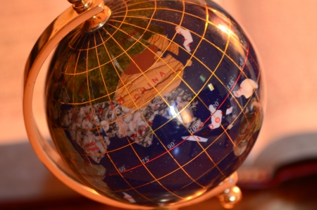 redemption of the world: Globe, Bible and pen Stock Photo