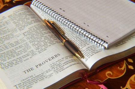 Holy Bible memo pad and pen photo