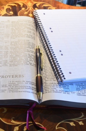Holy Bible pen and memo pad photo