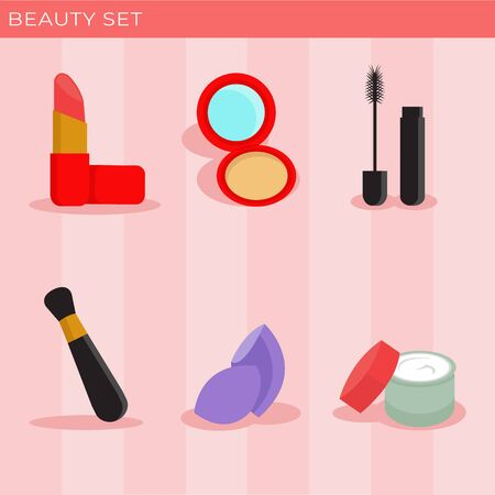 Cute and Sweet Illustration of Beauty Starter Pack Icon Set Ilustrace