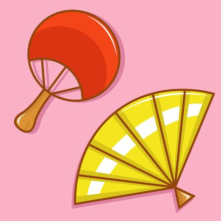 Cute and Sweet Vector Illustration of Hand Held Fan on Pink Background