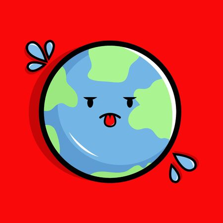 Cartoon Illustration of Global Warming on Earth with Red Background Illustration