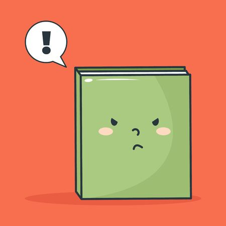 Cute Illustration of A Book Get Angry in Cartoon Style on Red Background
