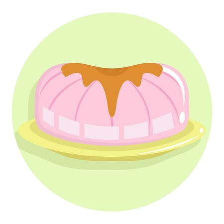 Pink Jelly with Peanut Butter Topping Simple Colorful Flat Illustration 向量圖像