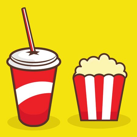 Colorful Illustration of Popcorn and Soft Drink on Yellow Background