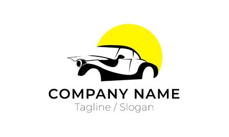 Illustration of Simple Car with Yellow Circle Shape Logo for Automotive Industry or Business