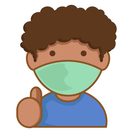 Simple Illustration of African Boys with Curly Hair Wear Face Mask
