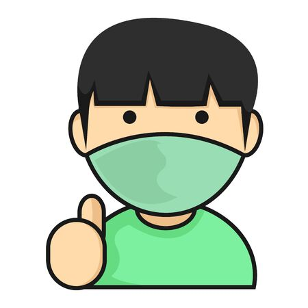 Simple Illustration of Asian Boys with Wear Face Mask Give A Thumbs Up 向量圖像