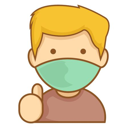 Simple Illustration of Blonde Boys with Wear Face Mask Give A Thumbs Up