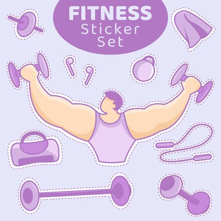 Sticker Pack of Gym Stuff. Fitness Equipment. Fitness Icon Set. Vector Illustration of Muscle Man with Dumbbell and Barbell. 向量圖像