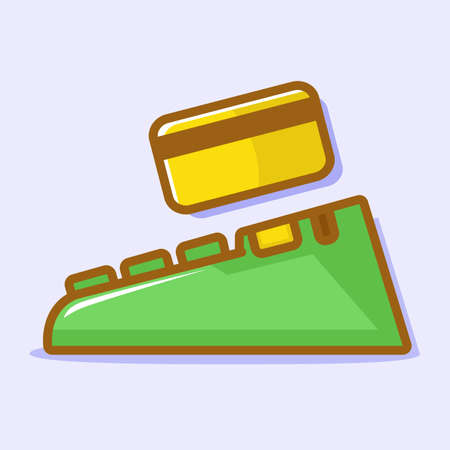 Simple vector illustration of an electronic data capture machine with a card. Will make the payment. Pay bill. Good financial. A prosperous life. Taking money. Debit card. Money transactions.