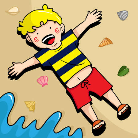 Vector illustration of a kid seem very happy lay down on the sand at the beach. Kids illustration. Happy face. For children.