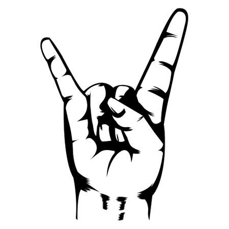 Hand illustration. Simple illustration. Black and white illustration. Black outline. Metal symbol. Rock and roll. Grunge and hardcore.