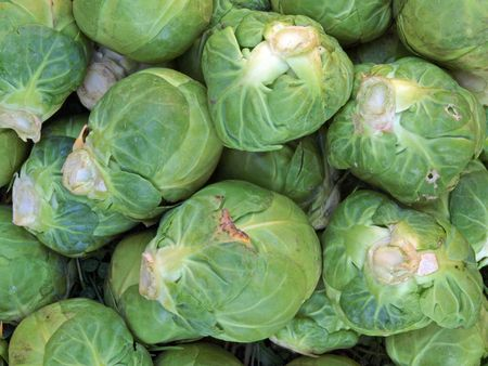 Close-up of brussel sprouts.