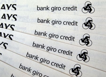 New bank giro paying in slips for paying into accounts.