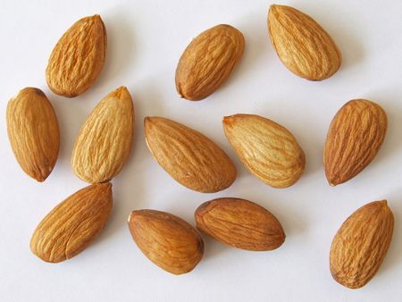 Close-up of  almond nuts, one of the five a day. used healthy and nuts. Stock Photo