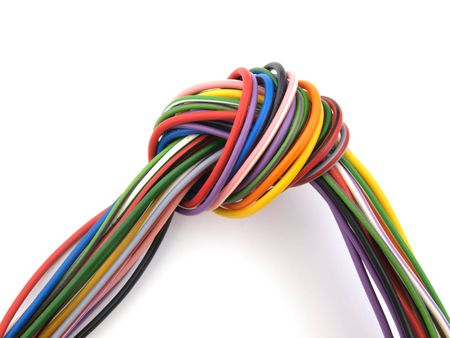 amp: Close up of multicoloured six amp electrical wire