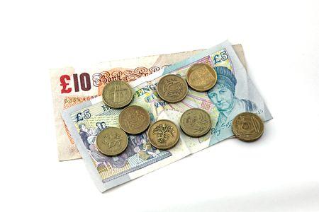 Gros plan de la monnaie britannique, billets et pièces en euros. Banque d'images