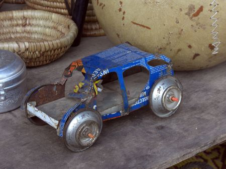 Toy tin Car in the Senegambia craft market. Stock Photo